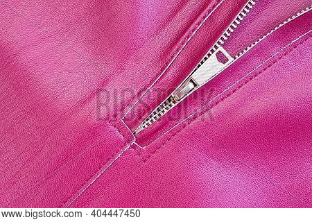 Zipper Lock On Faux Leather Pants. Fuchsia Eco Faux Leather Texture Background.