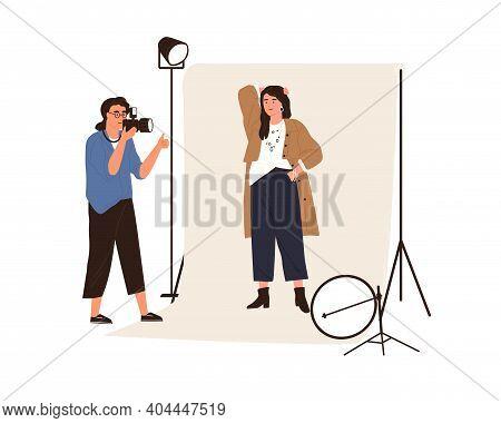 Portrait Photography Backstage. Female Photographer Taking Photo Or Shooting Professional Model Posi