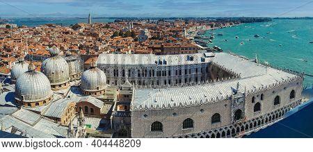 Venice, Italy: Panorama Wide Angle Aerial Drone Shot Of Venice City By The Mediterranean Sea. Venezi