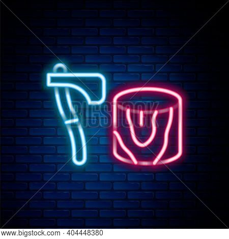 Glowing Neon Line Wooden Axe In Stump Icon Isolated On Brick Wall Background. Lumberjack Axe. Axe St