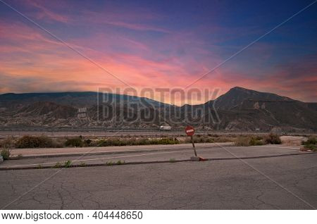 Beautiful Landscape With Amazing Sky And Mountains In The Tabernas Desert, Andalucia, Spain