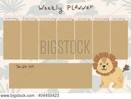 Vector Childrens Weekly Planner With A Cute Lion In Cartoon Style. Place For A To-do List