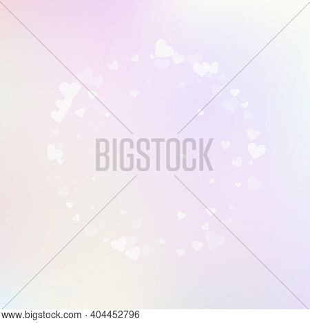 White Heart Love Confettis. Valentines Day Frame Fantastic Background. Falling Transparent Hearts Co