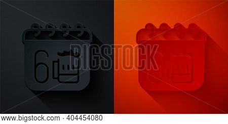 Paper Cut Saint Patricks Day With Calendar Icon Isolated On Black And Red Background. Four Leaf Clov