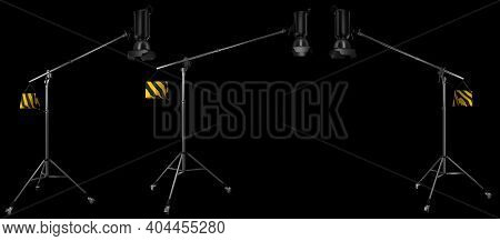 Photography High Speed Studio Flash On Boom With Stand Isolated On Black.