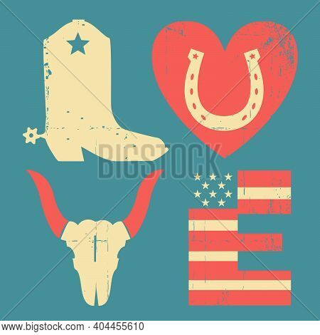 American Wild West Traditional Symbols. Vintage Cowboy Vector Grunge Printable Symbol Text With Cowb