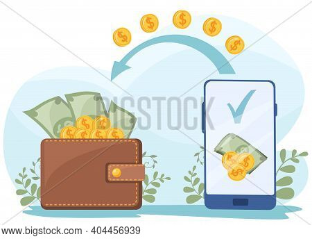 Flat Vector Illustration. Online Payment, Cashback, Cash Withdrawal, Electronic Wallet. Money From T