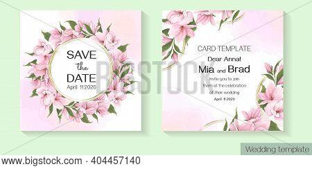 Floral Template For Wedding Invitation. Pink Delicate Sakura, Magnolia, Watercolor Background.