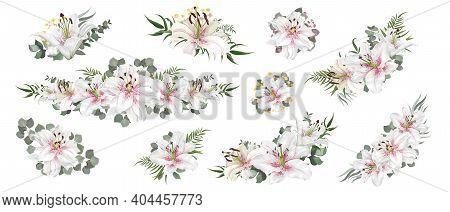 Vector Floral Arrangements. White Royal Lilies, Eucalyptus, Various Plants And Flowers. Corners, Bor