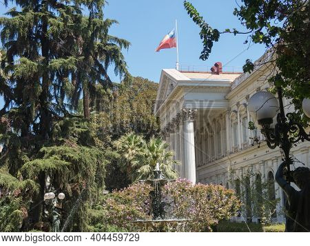 Imposing Seat Of Santiago Of The National Congress Of Chile, In The Center Of Santiago De Chile, The