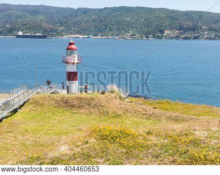 Valdivia, Chile, January 12, 2018: Lighthouse In Niebla, Valdivia, Chile. Lighthouse In The Spanish