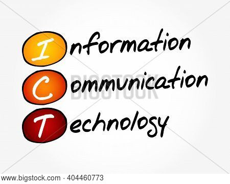 Ict - Information Communication Technology Acronym, Concept Background