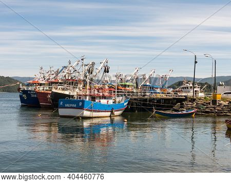 Valdivia, Chile, January 14, 2018: Dock At The Mouth Of The Valdivia River, With Fishing Boats Moore