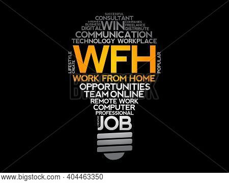 Wfh - Work From Home Acronym Light Bulb Word Cloud, Business Concept Background