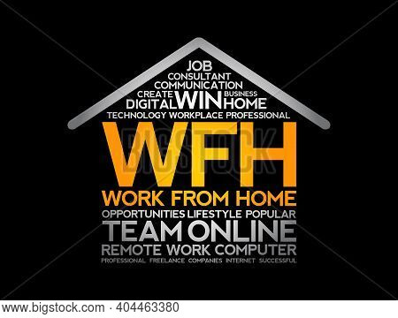 Wfh Work From Home Acronym - House Shape Word Cloud, Business Concept Background