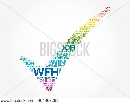 Wfh - Work From Home Check Mark Word Cloud, Business Concept Background