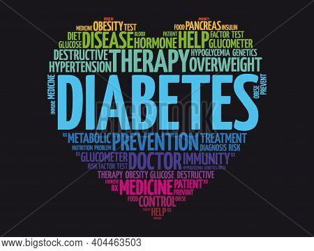 Diabetes Heart Word Cloud, Health Concept Background