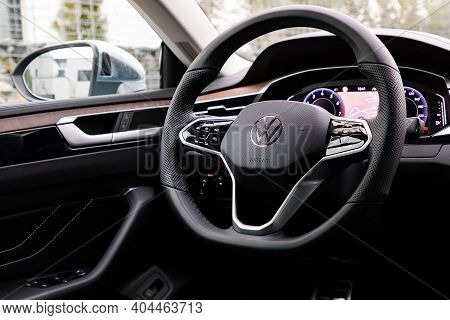 Prague, Czech Republic - December 22, 2020: Steering Wheel Of Volkswagen Vehicle In Prague, Czech Re