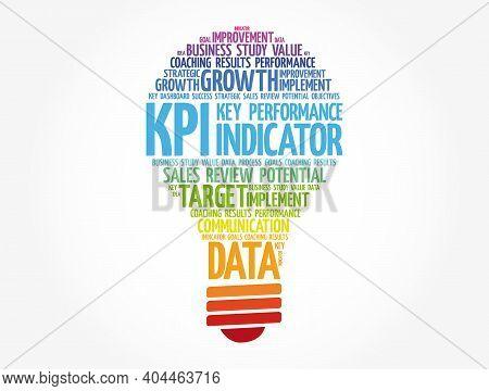 Kpi - Key Performance Indicator Light Bulb Word Cloud, Business Concept Background