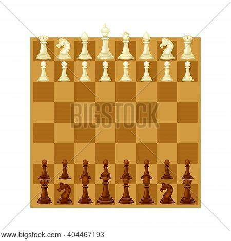 Wooden Chessboard With Chess Pieces As Chess Or Strategy Board Game Above View Vector Illustration