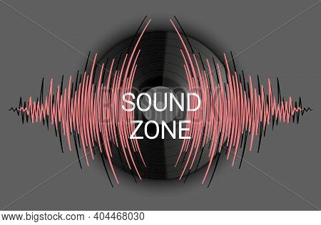 Background With Vinyl Record And Music Wave. Modern Art Audio Poster. Trendy Colorful Wavy Player Ve