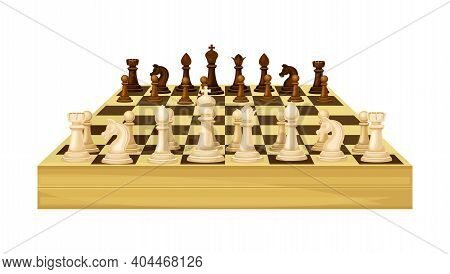 Wooden Chessboard With Chess Pieces As Chess Or Strategy Board Game Vector Illustration