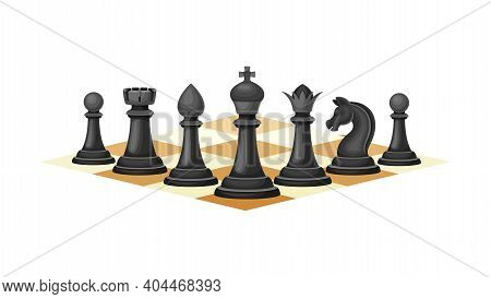 Black Chess Piece Or Chessman With King And Queen Standing In Row Vector Illustration