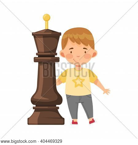 Little Boy Standing With Giant Black King Chess Piece Or Chessman Vector Illustration