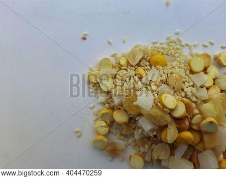 Karnataka Style Ellu Bella Makara Sankranti Festival Distribution Or Eating Food Mix Isolated On Whi
