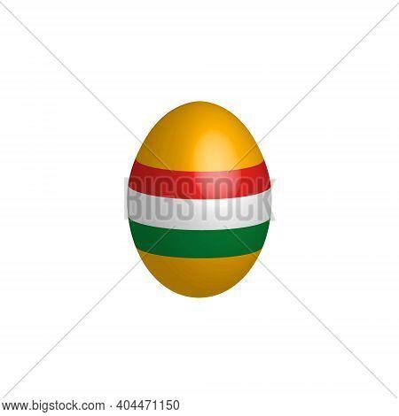 Easter Egg In The Colors Of The Flag Of Hungary. Hungary Flag. Easter Chicken Egg. Christian Religio