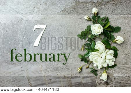 February 7th. Day 7 Of Month, Calendar Date. Stylish Roses Flat Lay. White Roses Border On Pastel Gr