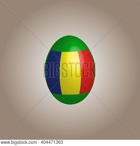 Easter Egg In The Colors Of The Romania Flag. Romania Flag. Easter Chicken Egg. Christian Religion A