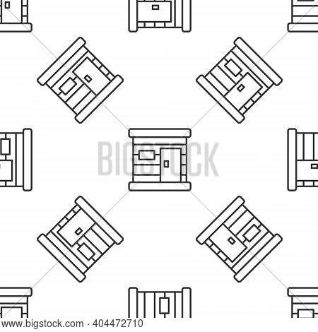Grey Line Sauna Wooden Bathhouse Icon Isolated Seamless Pattern On White Background. Heat Spa Relaxa