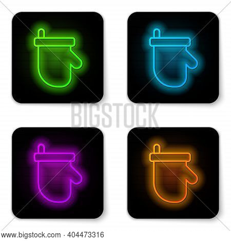Glowing Neon Line Sauna Mittens Icon Isolated On White Background. Mitten For Spa. Black Square Butt