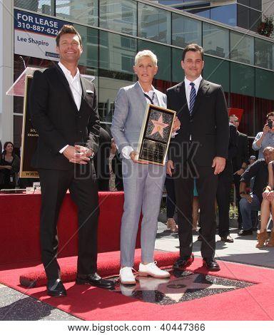 LOS ANGELES - AUG 03:  Ryan Seacrest, Ellen Degeneres & Jimmy Kimmel arriving to Walk of Fame - ELLEN DEGENERES  on August 03, 2012 in Hollywood, CA