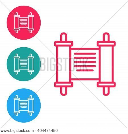 Red Line Decree, Paper, Parchment, Scroll Icon Icon Isolated On White Background. Chinese Scroll. Se