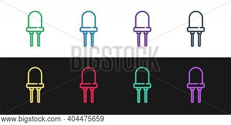 Set Line Light Emitting Diode Icon Isolated On Black And White Background. Semiconductor Diode Elect
