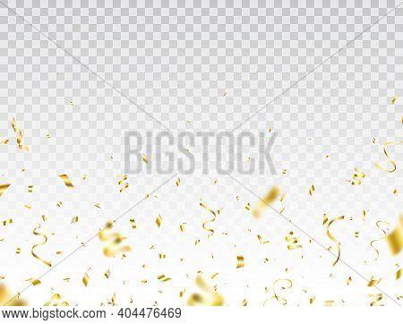 Confetti Golden Border. Shiny Party Background. Celebration Holiday Design Elements For Web, Flyer.