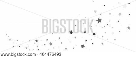 Star Silver Trail Shape. Gray Stars Composition On White Background. Glitter Elegant Design Elements