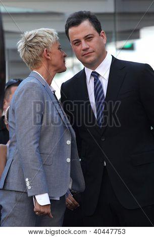 LOS ANGELES - AUG 03:  Ellen Degeneres Jimmy Kimmel arriving to Walk of Fame - ELLEN DEGENERES  on August 03, 2012 in Hollywood, CA