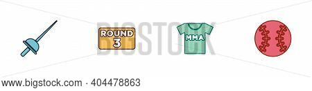 Set Fencing, Boxing Ring Board, T-shirt With Fight Club Mma And Baseball Ball Icon. Vector