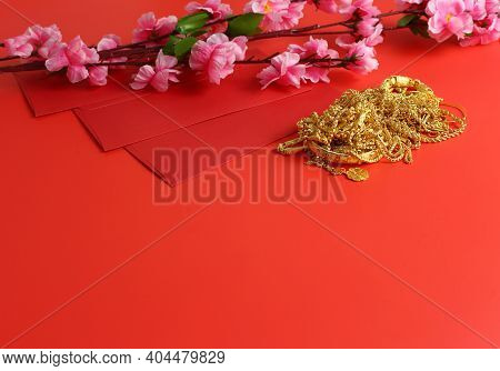 Chinese New Year Background - Red Envelope, Plum Flower And Gold Orament