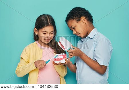 Multiethnic Kids Show How To Brush Teeth Properly And Oral Hygiene. Two Children Hold A Toothbrush A