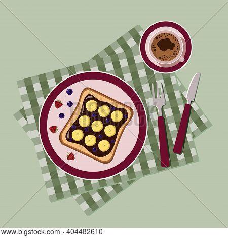Breakfast With Pancakes. Unusual Breakfast. Kitchen Breakfast