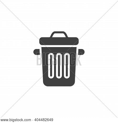 Trash Can Vector Icon. Filled Flat Sign For Mobile Concept And Web Design. Dustbin Glyph Icon. Symbo