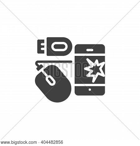 Electronic Waste Vector Icon. Filled Flat Sign For Mobile Concept And Web Design. E-waste Glyph Icon