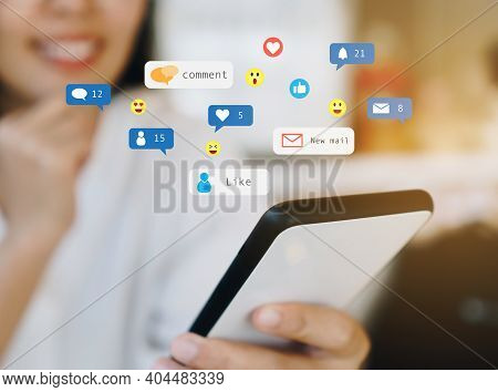 Woman Happy Play Social Media On Smartphone With Communication Icon. Technology Concept.