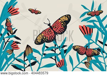 Spring Butterfly Banner. The Doodles Depicted Winged, Soaring Butterflies, Flowers, Spring, Eggs, An