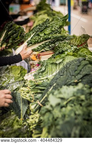 Organic Kale Bunches At A Local Farmers Market