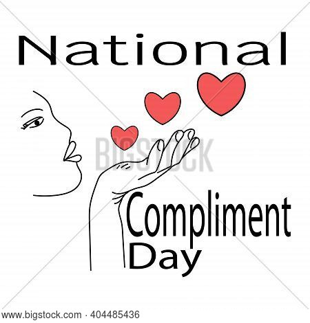 National Compliment Day, Symbolic Direction Of Hearts With Hands And Themed Inscription Vector Illus